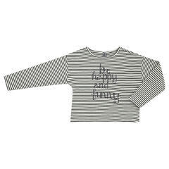 Junior - Long-sleeved striped tee-shirt with sparkly message