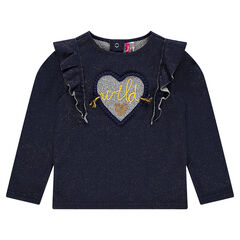 Sparkly fleece sweatshirt with frills and patch