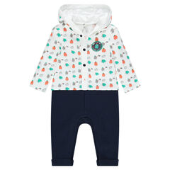 Fleece hooded playsuit with monsters printed all over