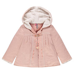 Hooded jacket with printed polka dots, embroidery and pompoms