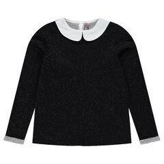 Junior - Sparkly jacquard fleece sweatshirt with Peter Pan collar