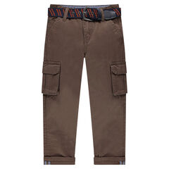 Straight pants with pockets and removable belt