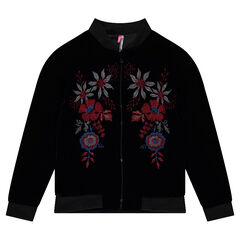Junior - Panne velvet bomber jacket with embroidered flowers