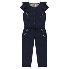 Long jumpsuit in sparkly fleece with embroidery