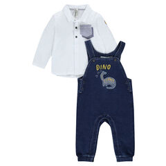 Ensemble with jersey polo shirt and denim-effect fleece overalls