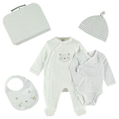 Newborn gift set with bodysuit, footed sleeper and bib