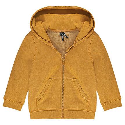 Slub fleece jacket with hood