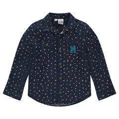 Long-sleeved shirt with an allover Mickey Mouse print