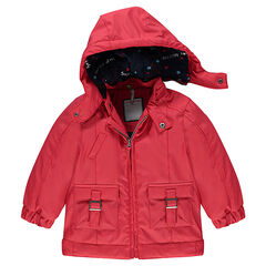 Red rubber windbreaker with jersey lining, pockets and removable hood