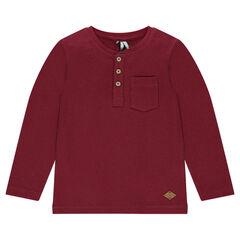 Junior - Long-sleeved, honeycombed tee-shirt with a Tunisian collar