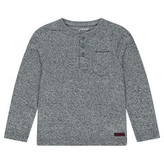 Long-sleeved jersey tee-shirt with Tunisian collar