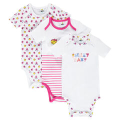 Set of 3 bodysuits featuring Baby ©Smiley print with opening adapted according to the age