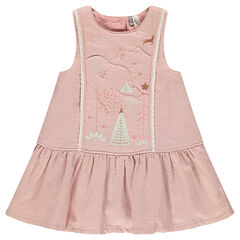 Cotton dress with polka dots, embroidery and lace
