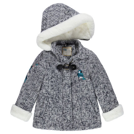 Hooded coat with tweed wool cloth effect with bird patch