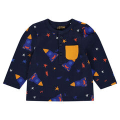 Long-sleeved tee-shirt with an allover print
