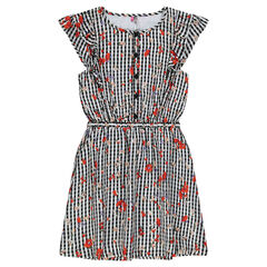 Junior - Gingham Print Floral Dress