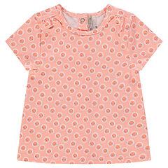 Short-sleeved tee-shirt with trendy flowery print