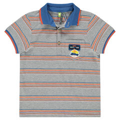 Short-sleeved polo shirt with stripes and badges