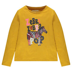 Junior - Long-sleeved plain-colored tee-shirt with print