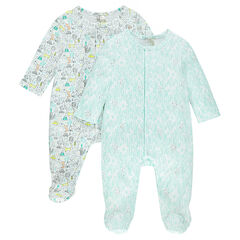 Set of 2 interlock jersey footed sleepers with allover prints