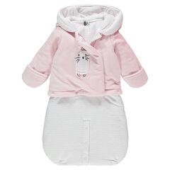Jersey-lined velvet snowsuit / bunting bag