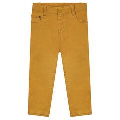 Slim fit pants in plain-colored canvas