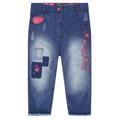 Jeans with patches and embroidery