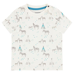 Short-sleeved tee-shirt with zebras an tepees printed all over