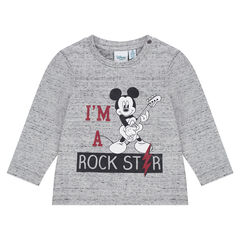 Long-sleeved, neps jersey tee-shirt with Disney Mickey Mouse print