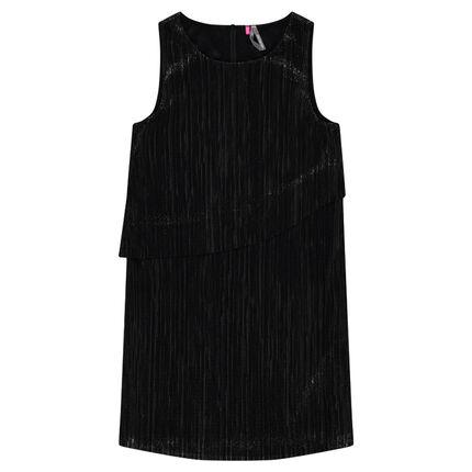 Junior - Sleeveless pleated dress with metallic effect