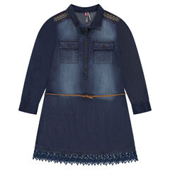 Junior - Denim shirt dress with printed polka dots, lace and embroidery
