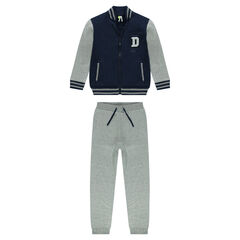 Sweatsuit with two-tone letter jacket and fleece pants