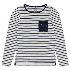 Junior - Long-sleeved striped tee-shirt with lace pocket