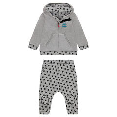 Jersey-lined fleece sweatsuit with printed pants