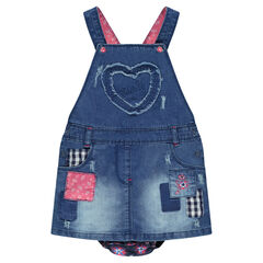 Denim overall dress with patches and embroidery and built-in bloomer shorts