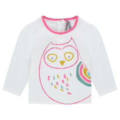 Tee-shirt with owl print and embroidery