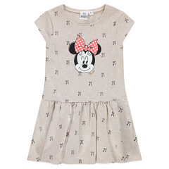 Fleece dress with printed bows and Minnie Mouse print