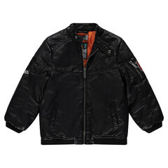 Jacket in imitation leather with badge patches