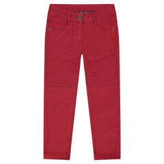 Junior - Plain-colored skinny fit pants with topstitching