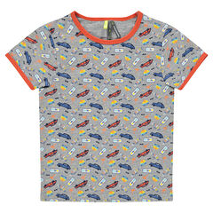 Short-sleeved tee-shirt with cars printed all over