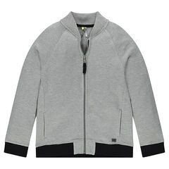 Junior - Piqué cotton cardigan with raglan sleeves
