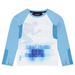 Tee-shirt with long raglan sleeves and sports-style print