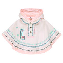 Knit hooded cape with embroidery and sherpa lining