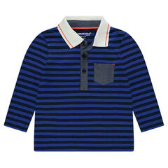 Long-sleeved polo shirt with allover stripes and chambray details