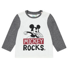 Long-sleeved jersey tee-shirt with Disney Mickey Mouse print