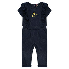 Long playsuit in sparkly fleece with frills and embroidery