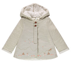 Hooded cotton jacket with embroidery