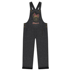 Heathered fleece overalls with Disney Minnie Mouse patch