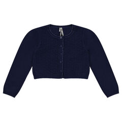 Short cardigan in cotton and wool with stitched details