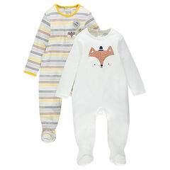 Set of 2 footed sleepers in jersey: striped/plain-colored with printed fox
